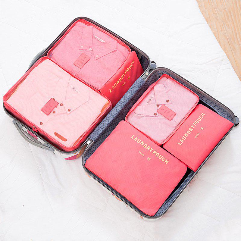 6 Pcs Travel Organizer Storage Bags - WATERMELON RED