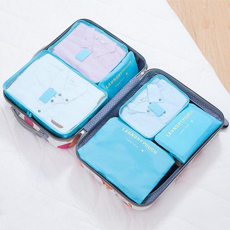 6 Pcs Travel Organizer Storage Bags - LAKE BLUE