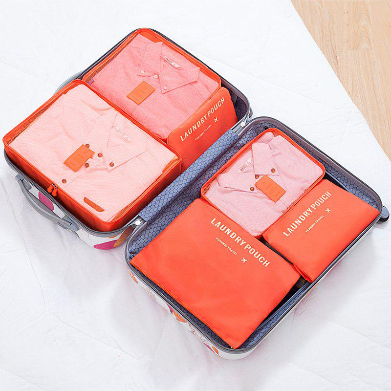 6 Pcs Travel Organizer Storage Bags - ORANGE