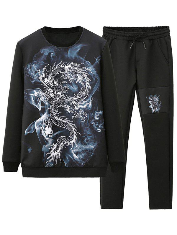 Twin-set Sweat-shirt et Pantalon Imprimé Dragon 3D - Noir 4XL