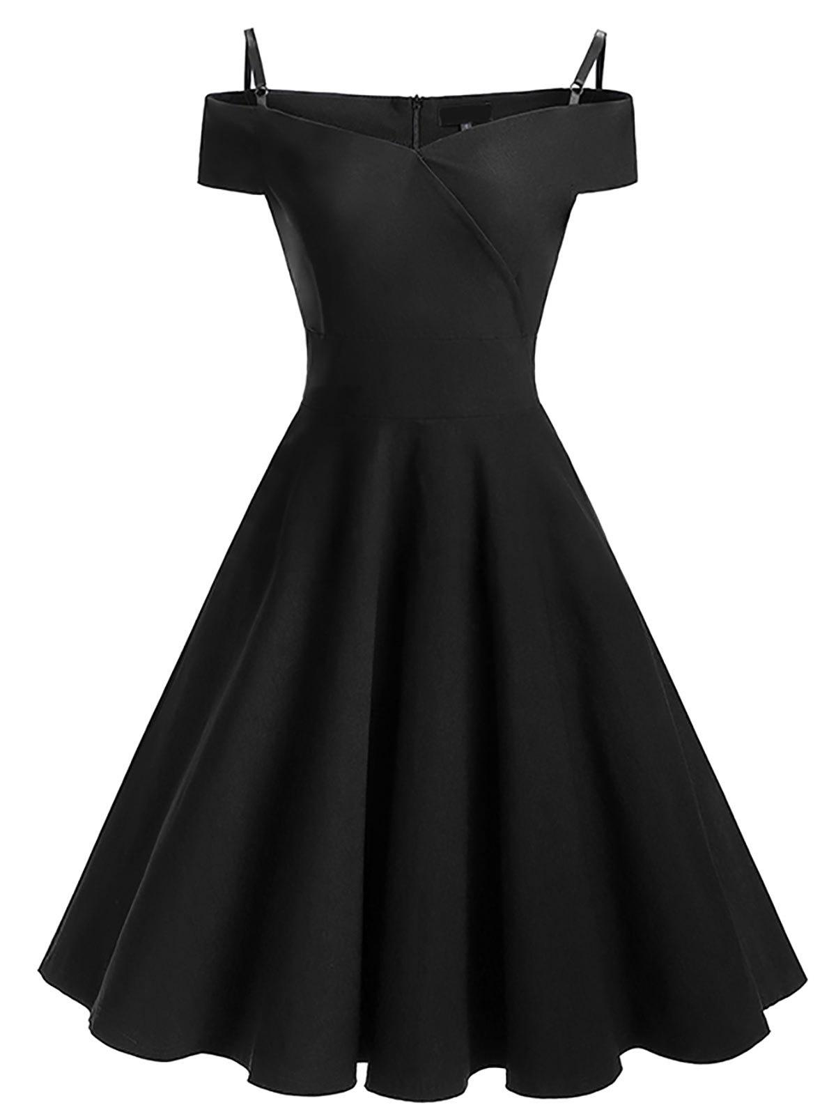 Vintage Cold Shoulder Skater Pin Up Dress - BLACK XL