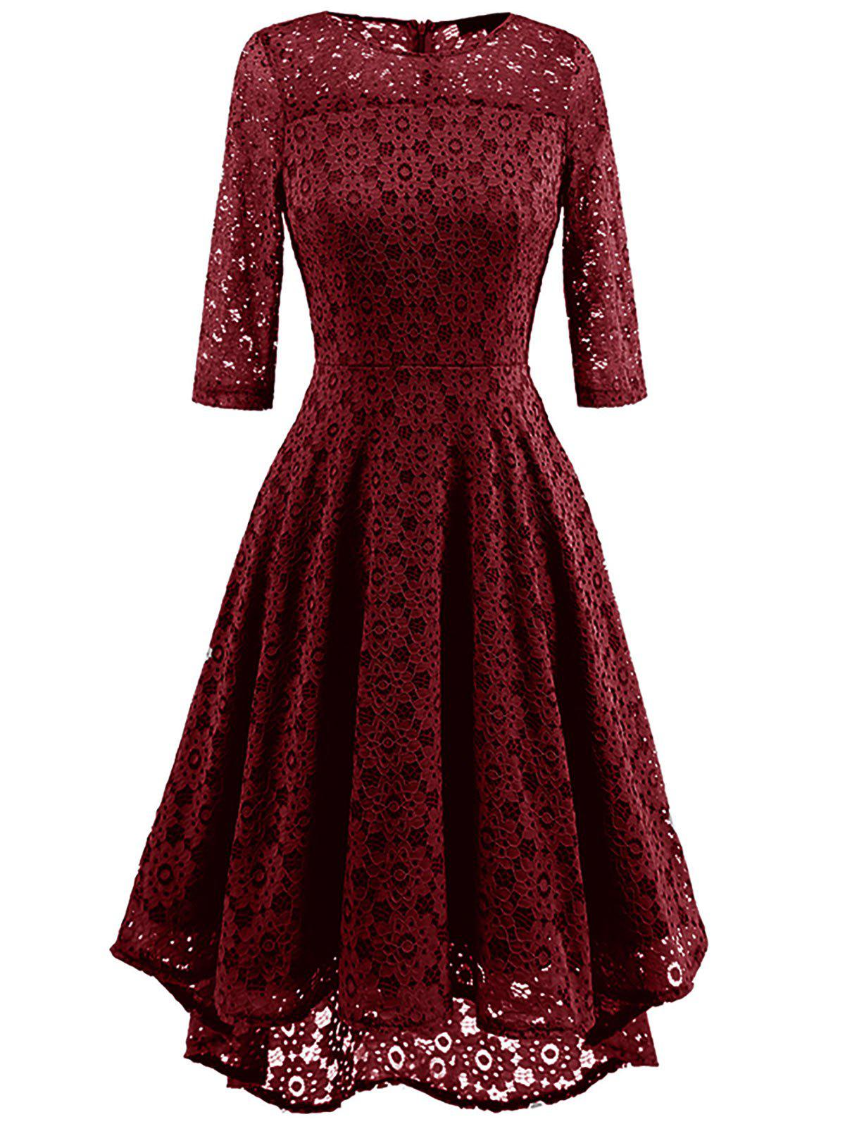 Lace Crochet High Low Midi A Line Dress - WINE RED M