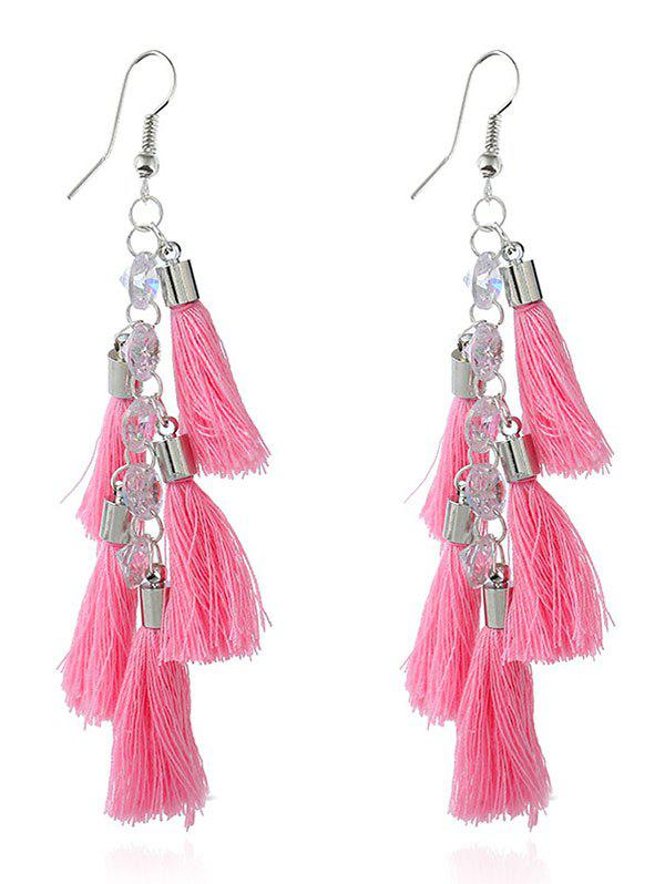 Tassels Rhinestone Embellished Pendant Earrings - PINK