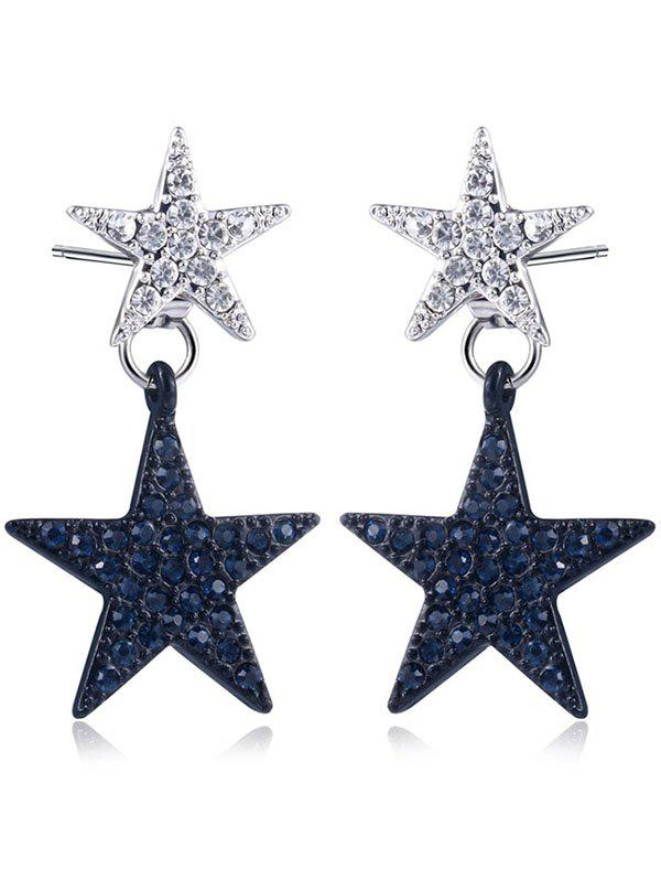 Rhinestone Double Star Front Back Earrings - BLACK / SILVER