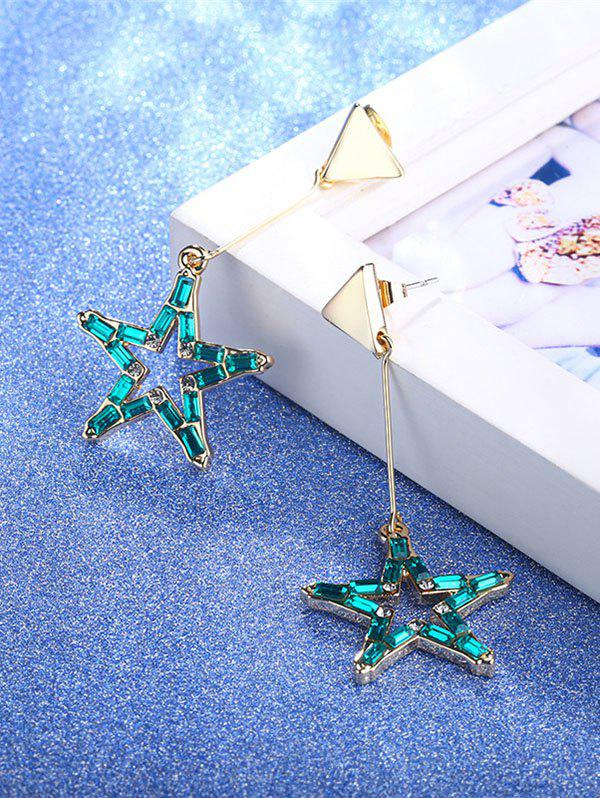 Faux Crystal Star Triangle Drop Earrings - Or