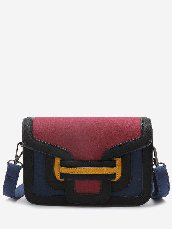 Color Blocking Stitching Crossbody Bag - RED