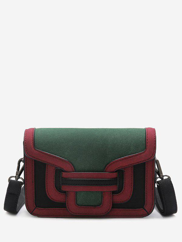 Color Blocking Stitching Crossbody Bag - GREEN