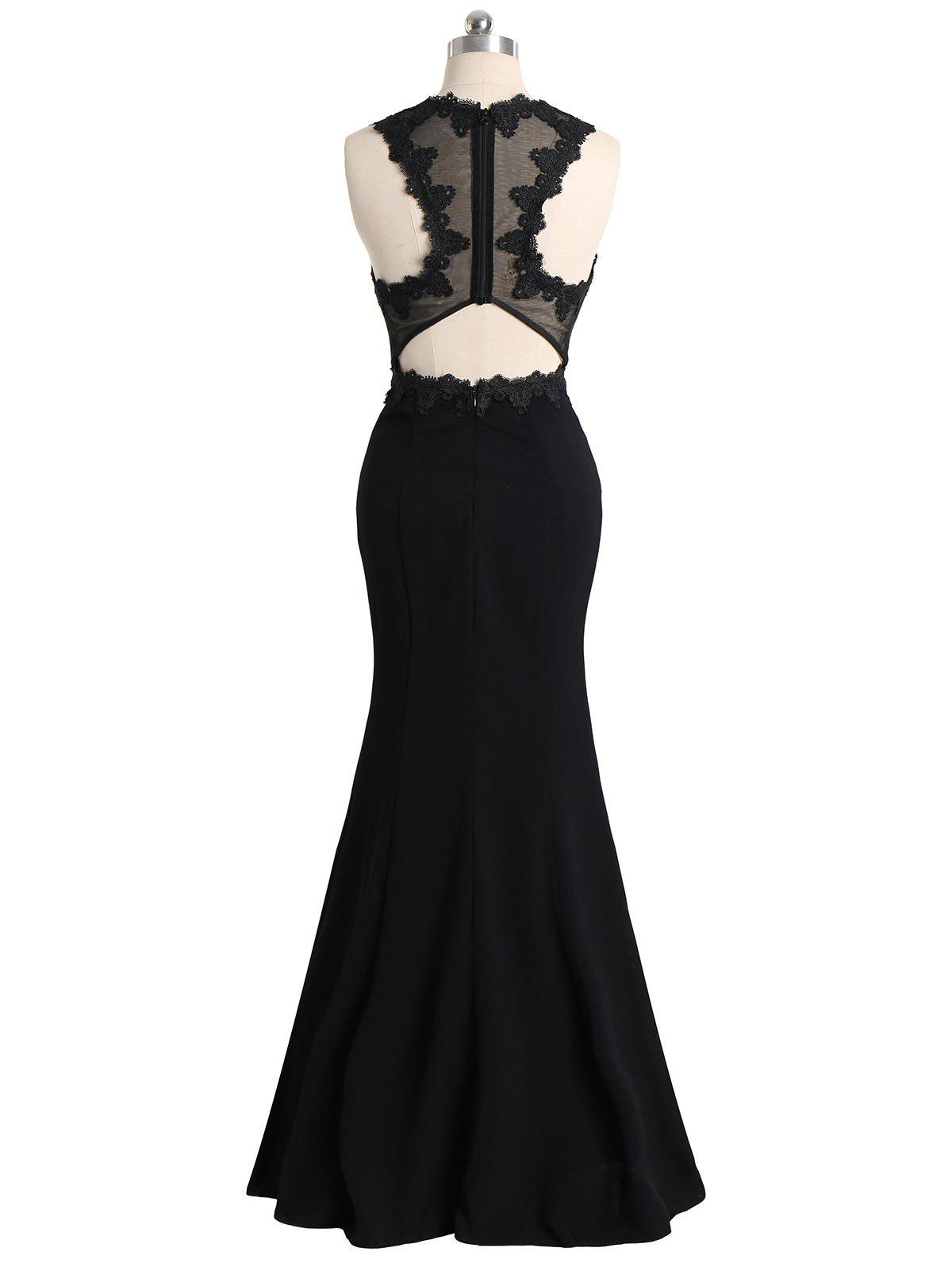 Floral Lace Mesh Panel Maxi Formal Evening Dress - BLACK 2XL