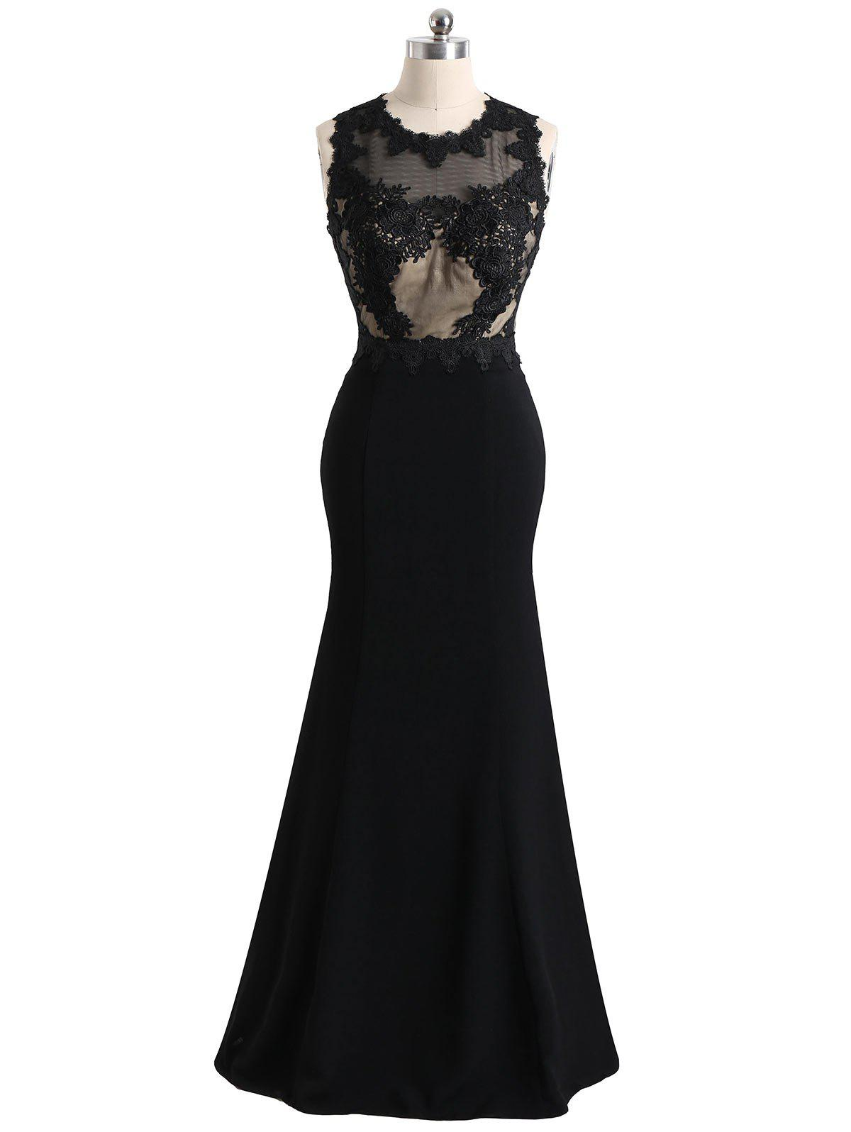 Floral Lace Mesh Panel Maxi Formal Evening Dress - BLACK L