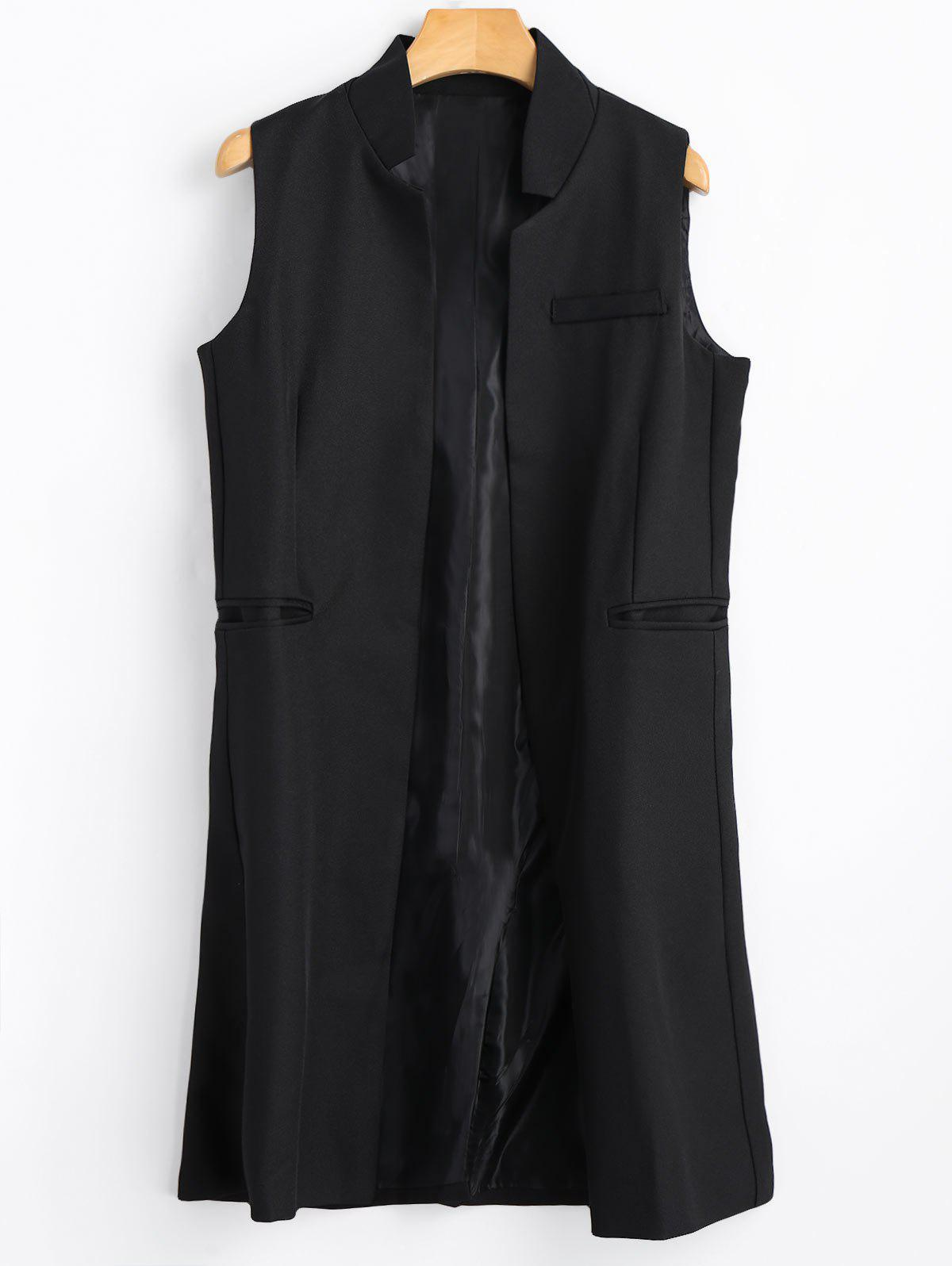 Open Front Long Vest - BLACK L