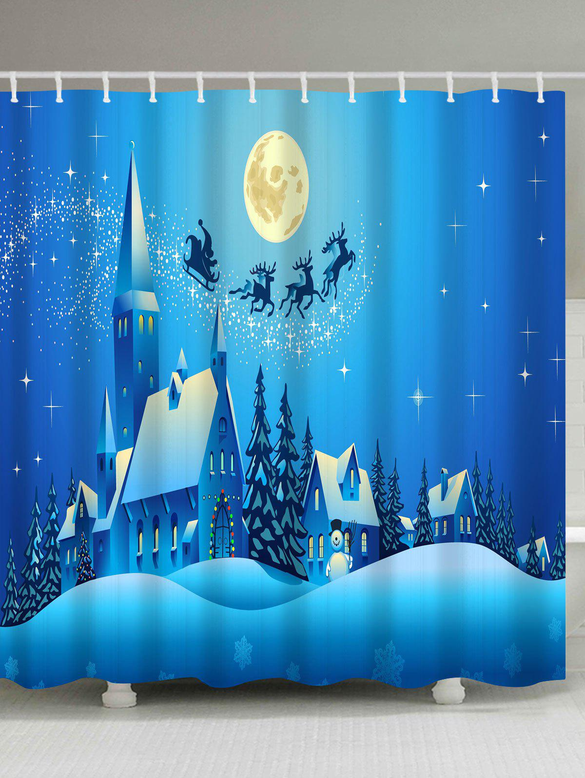 Christmas Moon Night Castle Printed Waterproof Shower Curtain moon flac jeans