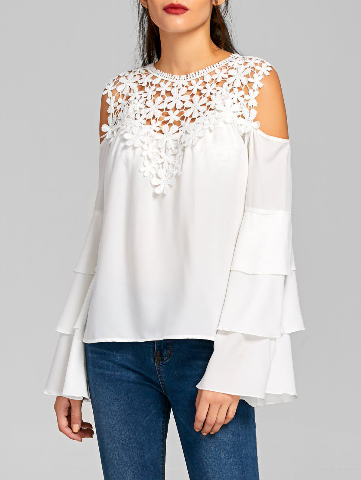 Sheer Cold Shoulder Layered Flare Sleeve Blouse - WHITE M