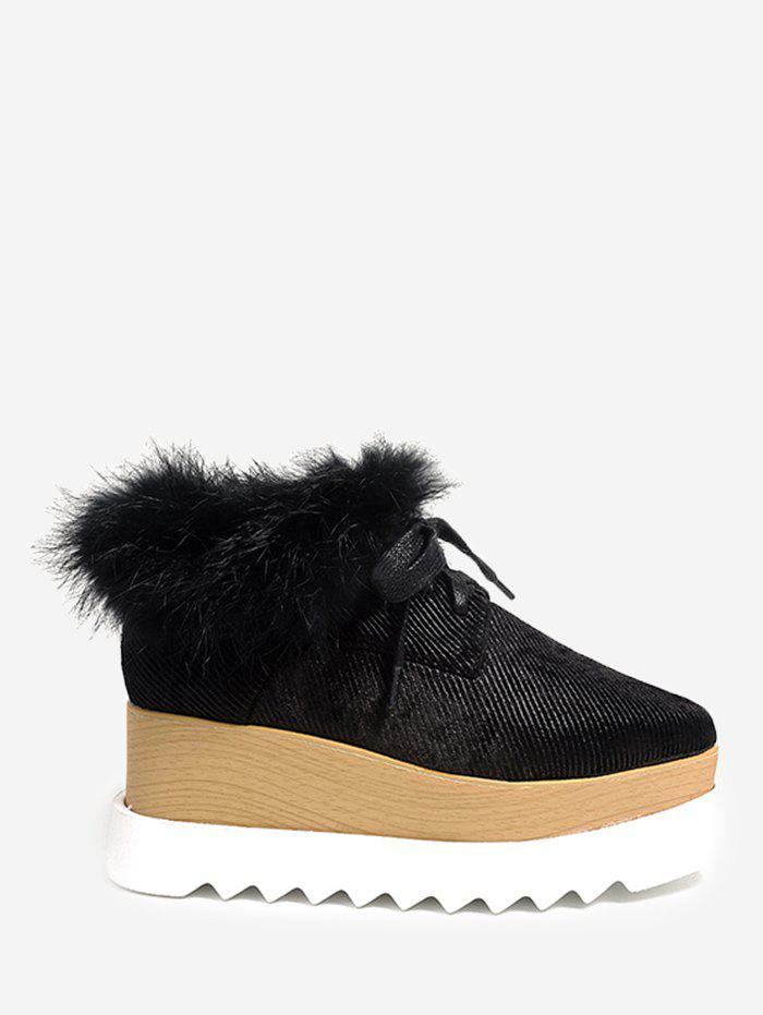 Faux Fur Trim Velvet Platform Shoes - BLACK 35
