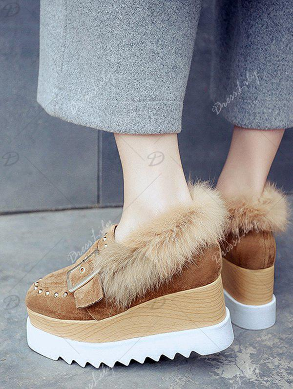 Buckle Strap Platform Shoes with Faux Fur Trim - BROWN 39