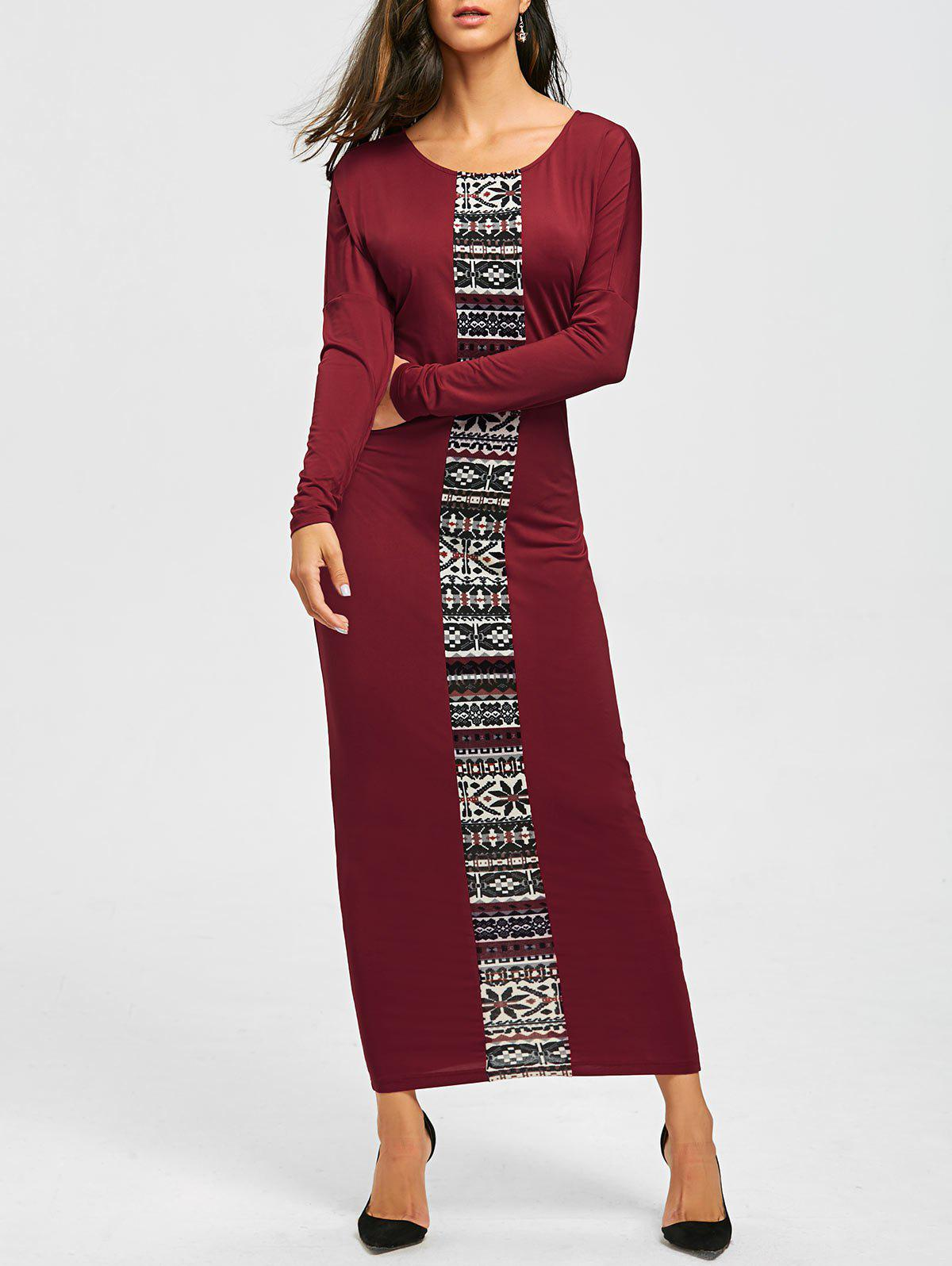 Tribal Print Long Sleeve Maxi Tee Dress - CLARET XL