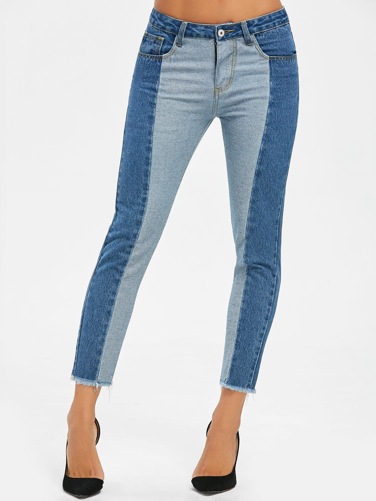 Two Tone Raw Edge Crop Jeans - DENIM BLUE L
