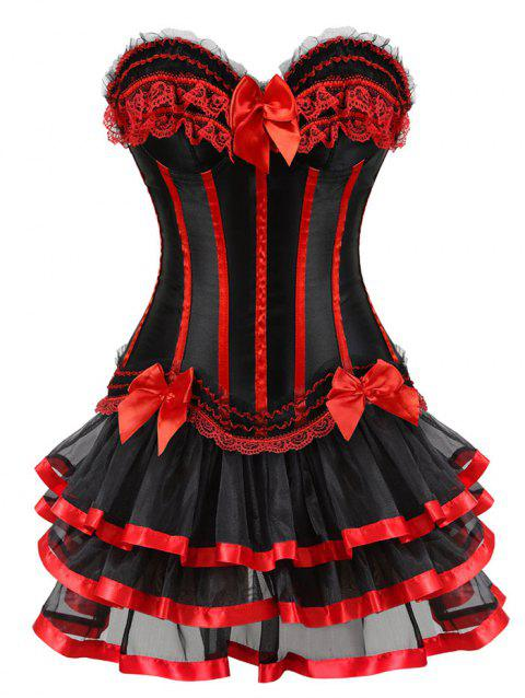 Layer Flounce Two Piece Corset Dress - RED 2XL