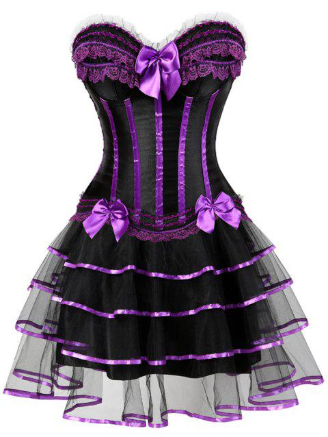 Layer Flounce Two Piece Corset Dress - PURPLE S