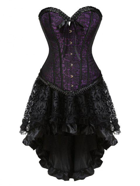 Lace-up Two Piece Corset Dress - PURPLE S