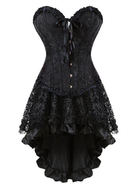 High Low Two Piece Jacquard Corset Dress - BLACK 2XL