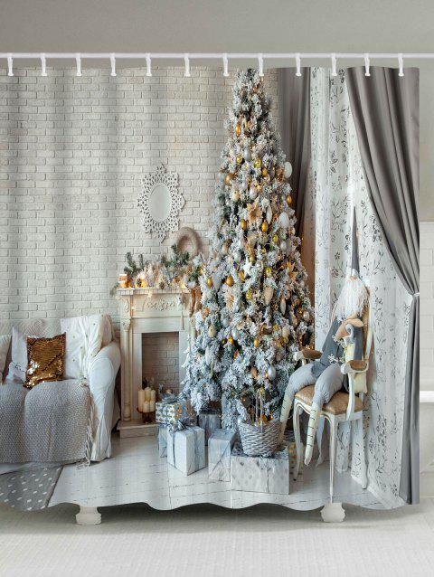 Christmas Tree Fireplace Printed Waterproof Shower Curtain - COLORMIX W71 INCH * L79 INCH