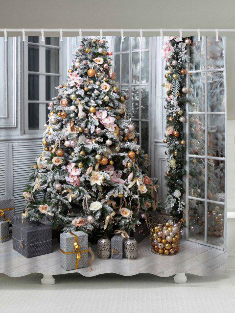 Christmas Tree Gift Print Waterproof Shower Curtain - COLORMIX W71 INCH * L71 INCH