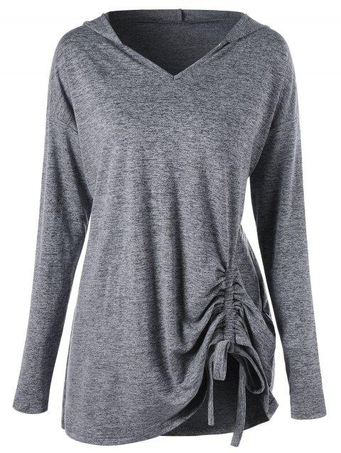 e7fd253e4ff6e 41% OFF  2019 Plus Size Drop Shoulder Drawstring Ruched Hoodie In ...