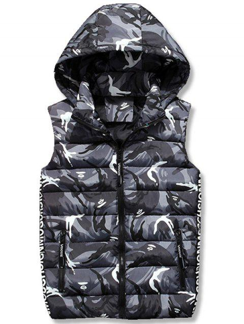 Zipper Up Camo Hooded Quilted Vest - GRAY M
