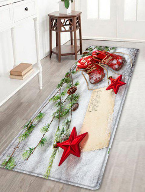 Christmas Snowfield Shoes Pattern Indoor Outdoor Area Rug - RED W16 INCH * L47 INCH