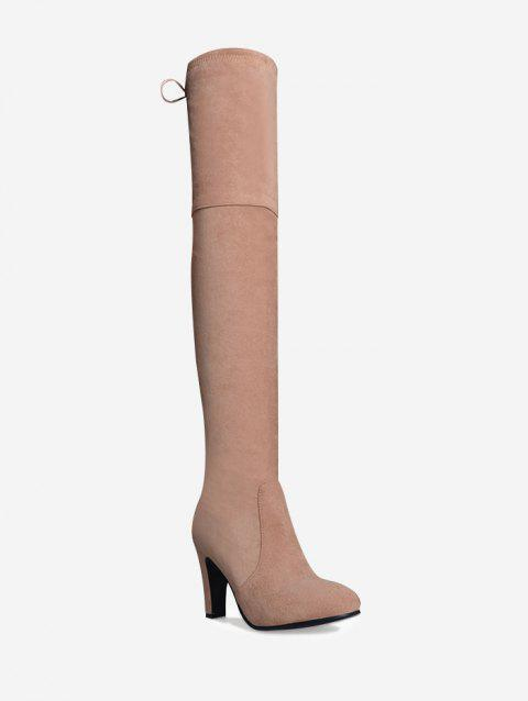 Mid Heel Tie Back Thigh High Boots - PINK 42