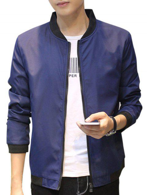 Contrast Trip Zipper Up Casual Bomber Jacket - DEEP BLUE 2XL