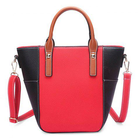 Stitching Contrasting Color Crossbody Bag - RED