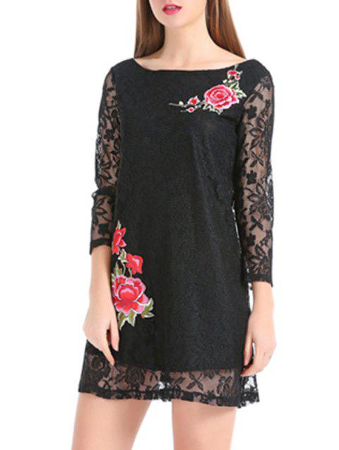 Flower Embroidery Sheer Sleeve Lace Mini Dress - BLACK S