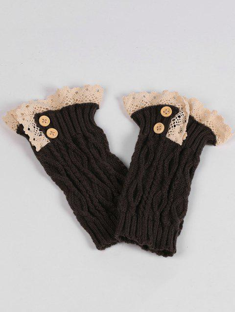 Pair of Button Decorated Lace Edge Knit Leg Warmers - DEEP GRAY