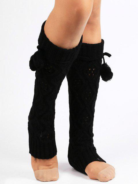 Rhombus Hollow Out  Embellished Knitted Leg Warmers - BLACK