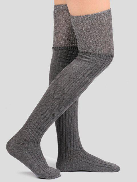 Plain Ribbed Knit Stockings - GRAY