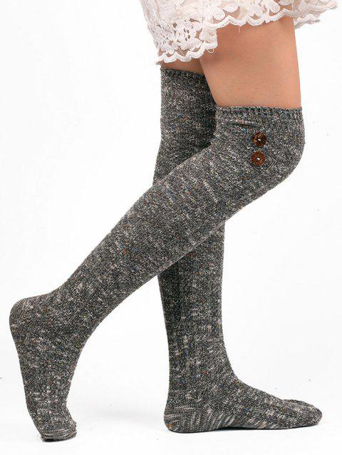 Button Decorated Knitted Stockings - GRAY