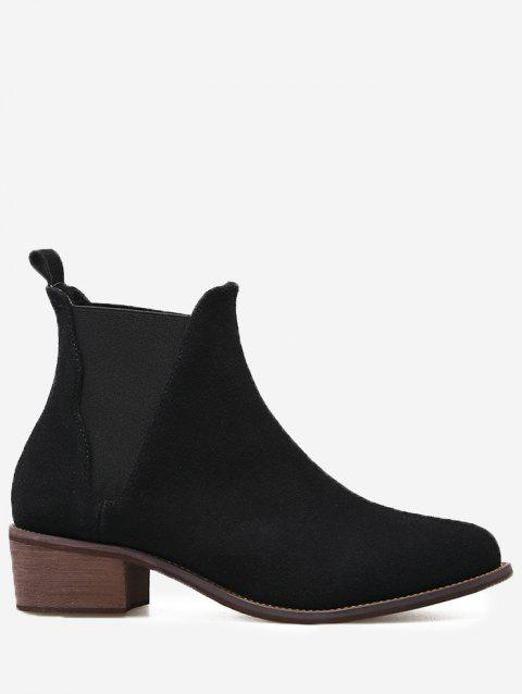 Bottines Slip-on à Talons Bas - Noir 39