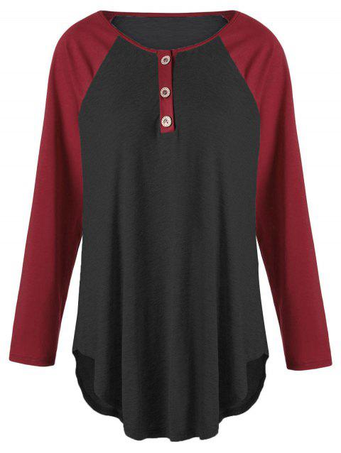 Plus Size Two Tone Raglan Sleeve T-shirt with Buttons - BLACK/RED 2XL