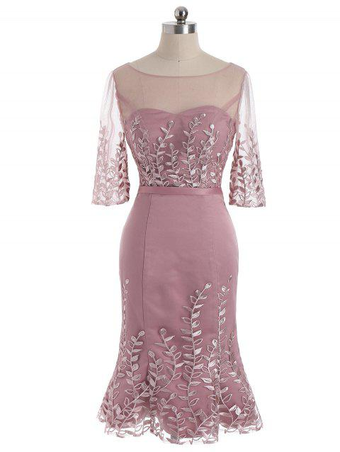 Mesh Yoke Floral Formal Mermaid Dress - PINK L