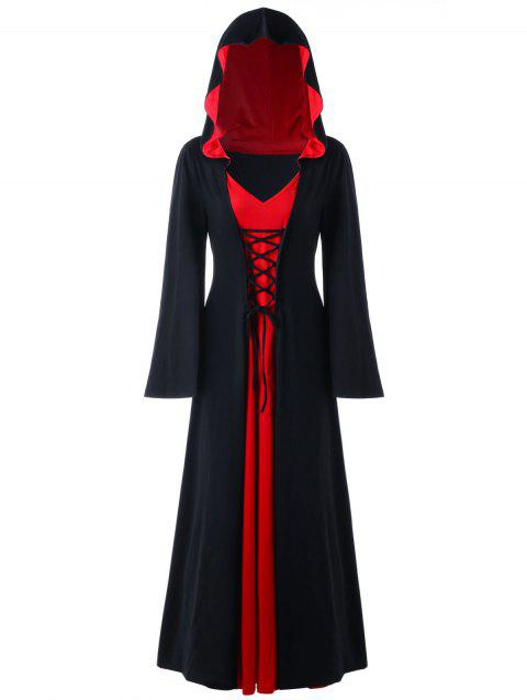 Plus Size Hooded Lace Up Maxi Dress - RED/BLACK XL