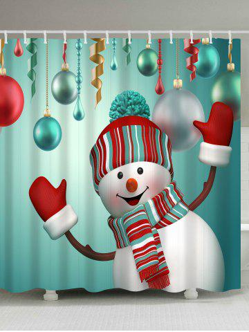 waterproof snowman printed bath christmas shower curtain - Christmas Decorations Online