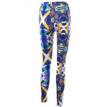 High Waist Graphic Skinny Leggings - L L