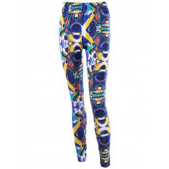 High Waist Graphic Skinny Leggings - COLORMIX L