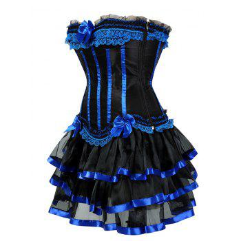 Layer Flounce Two Piece Corset Dress - BLUE L