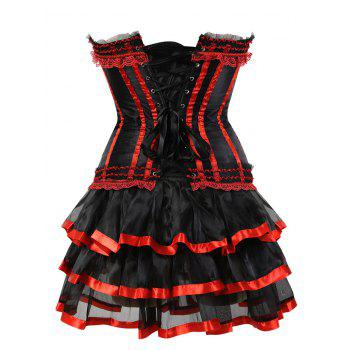 Layer Flounce Two Piece Corset Dress - RED L