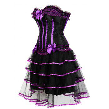 Layer Flounce Two Piece Corset Dress - PURPLE M