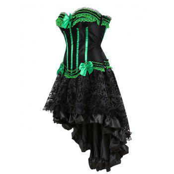 Two Piece Asymmetric Flounce Corset Dress - GREEN L