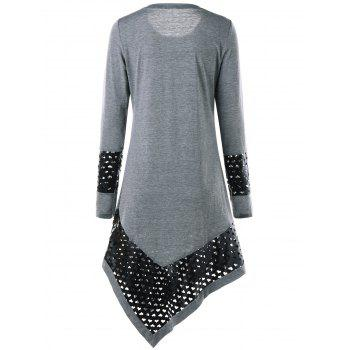 PU Insert Asymmetrical Midi Shift Dress - GRAY XL