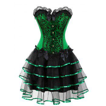 Two Piece Plus Size Flounce Corset Dress - GREEN 3XL